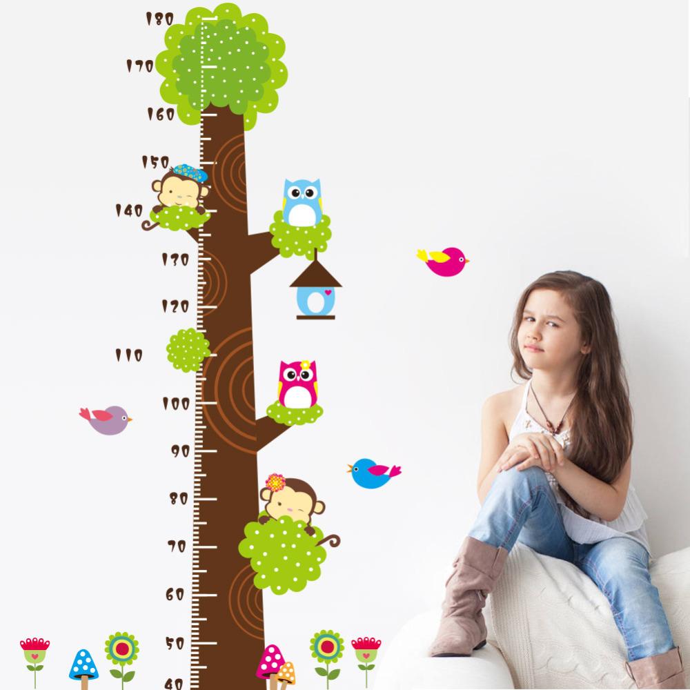 Children room Kindergarten Height Measure chart Owl money birds Tree DIY bedroom living room children's room wall sticker Mural(China (Mainland))