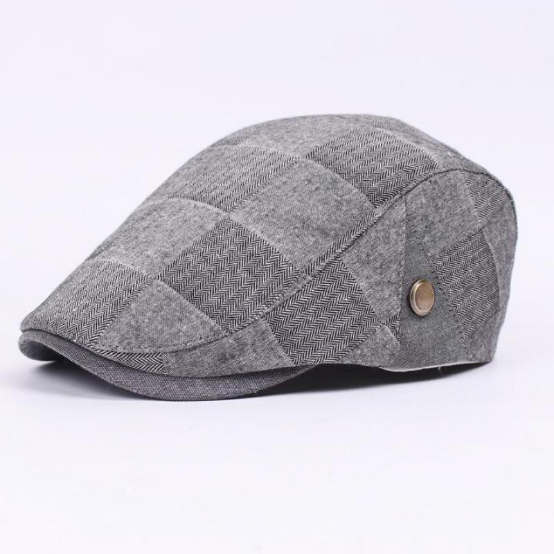 2016 New French Hat Beret Adult Unisex Casual Plaid Flat Cap Boinas Cotton Beret Hats For Women And Men Boina Feminina C45(China (Mainland))