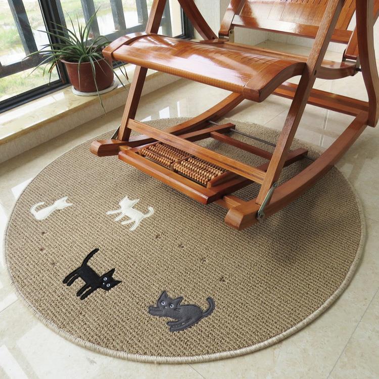 Round Carpet four cats Modern Brief Coffee Table Sofa Hanging Basket Large Floor Mats Doormat Bedroom Carpet Bruge Dia.80cm(China (Mainland))