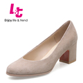 L T Classic design women pumps suede square heels zapatos mujer feminino round toe casual profession