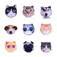 Lovely Portable Cartoon Bag Change Coin Purse Case Plush Purse Handbag Animal cat dog tiger Simulation 3D style(China (Mainland))