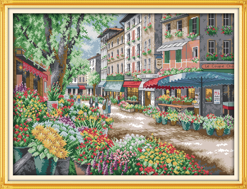 Paris flower market cross stitch kits DMC14ct 11ct printed cotton scenic embroidery DIY handmade needlework wall home decor(China (Mainland))