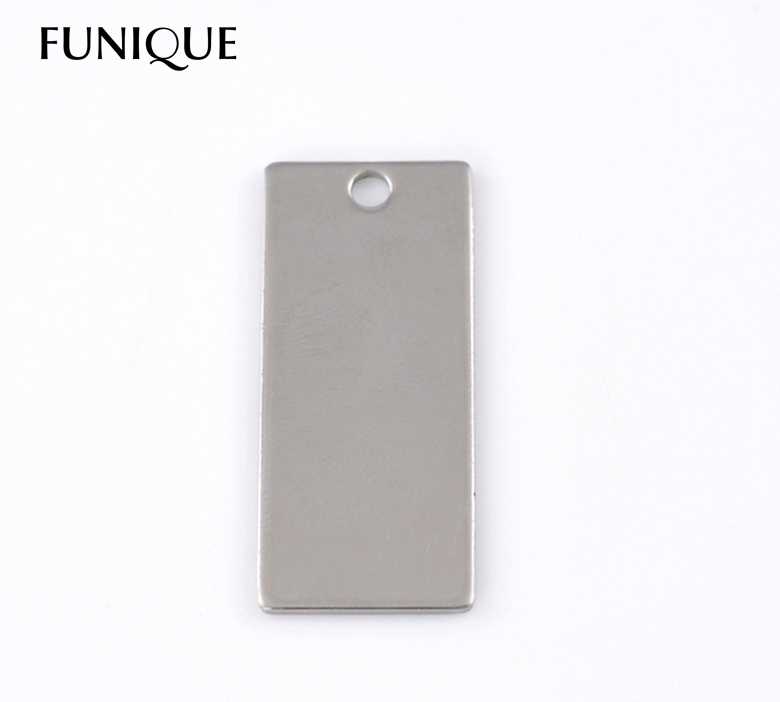 FUNIQUE 10PCs Silver Tone Rectangle Stainless Steel Dog Tags Pendants Stamping Blanks 3.8x1.6cm For Jewelry Making(China (Mainland))