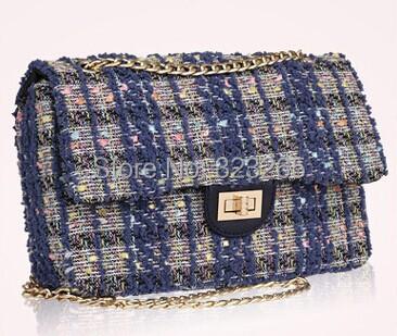 Цепи мешок темно-синий плед, Твидовые материал дамы сумки, Элегантный дамы старший, Осень и зима новый стартер