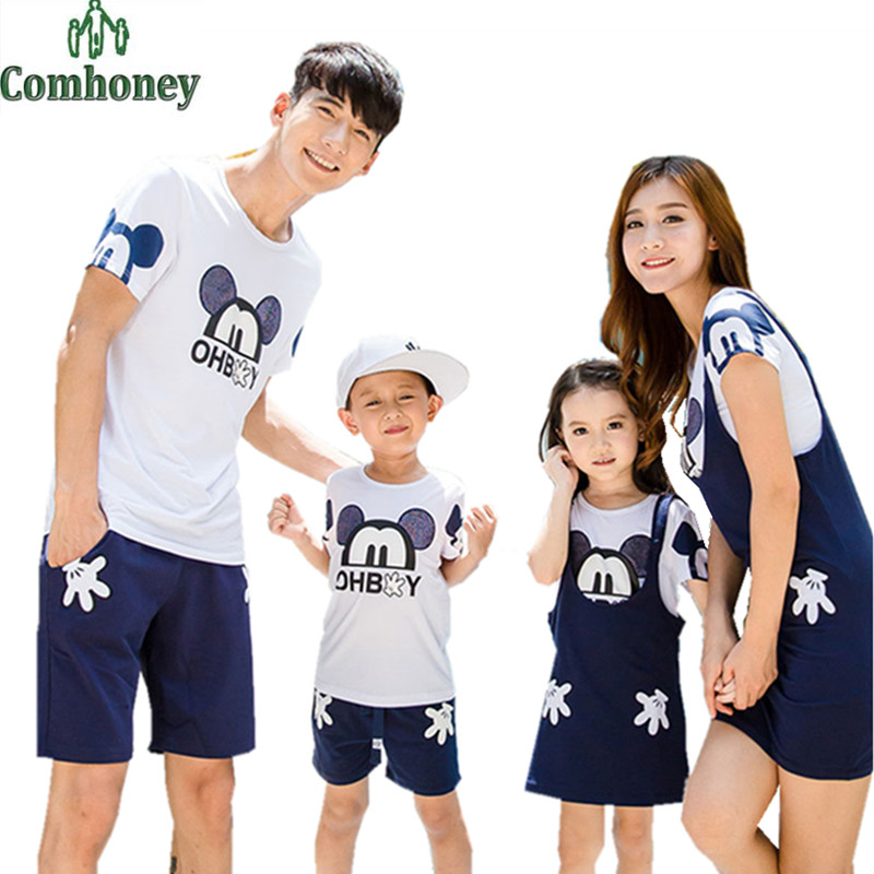 Family matching outfits minnie mouse clothing set for family short sleeve father son mother daughter matching family shirts(China (Mainland))