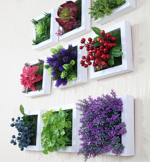 New 3d creative metope succulent plants imitation wood photo frame wall decoration artificial flowers home decor.jpg 640x640