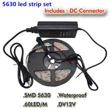 Super bright led strip 5630 5M SMD 300 led Cold white/Warm White 12V Waterproof+72W power supply adapter Free Shipping 1/set(China (Mainland))