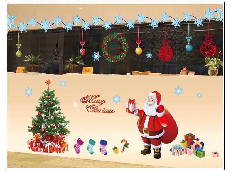 1 set Christmas Wall Stickers Christmas tree And Santa Claus Holiday decorations PVC Showcase Decorative HQ078(China (Mainland))