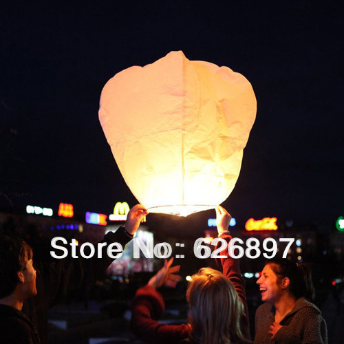 Free Shipping Holiday 25pcs White Sky Lanterns Air Chinese Paper Candle Fire Wishing Lanterns Wedding Birthday Decorations(China (Mainland))