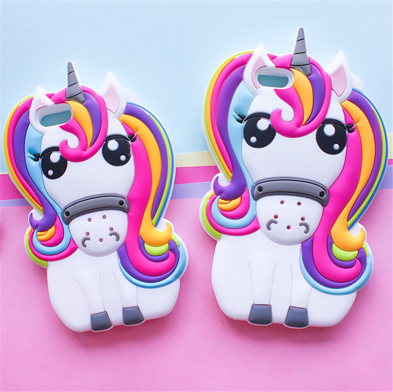 Brand New Cute 3D Rainbow Unicorn Horse Cartoon Soft Silicone Mobile Phone Cases Cover For iPhone 5 5G 5S SE 6 6G 6S 6Plus 5.5(China (Mainland))