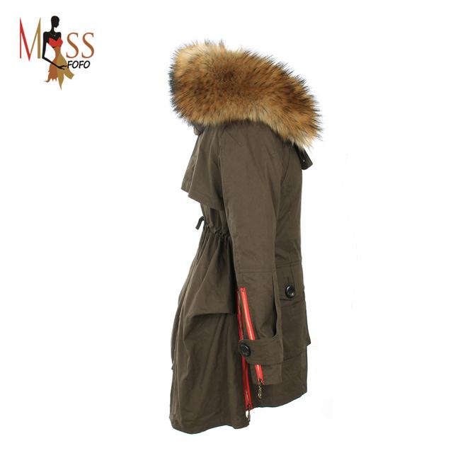ВЫСОЧАЙШЕЕ качество новый 2016 зимняя куртка женщин парки army Зеленый Большой меховой ...