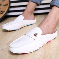 European Style Solid Super Light Men's Leather Flat Round Toe Casual With Skull Fashion shoes For Men 2014 New Arrival