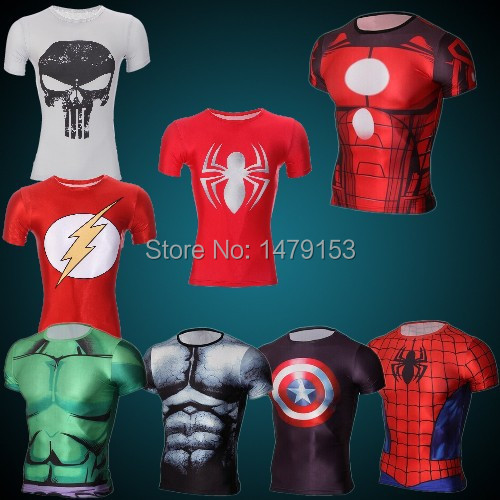 Spider-man male quick drying clothes sports T-shirt compressed T-shirt superman and batman captain America fitness T-shirt(China (Mainland))