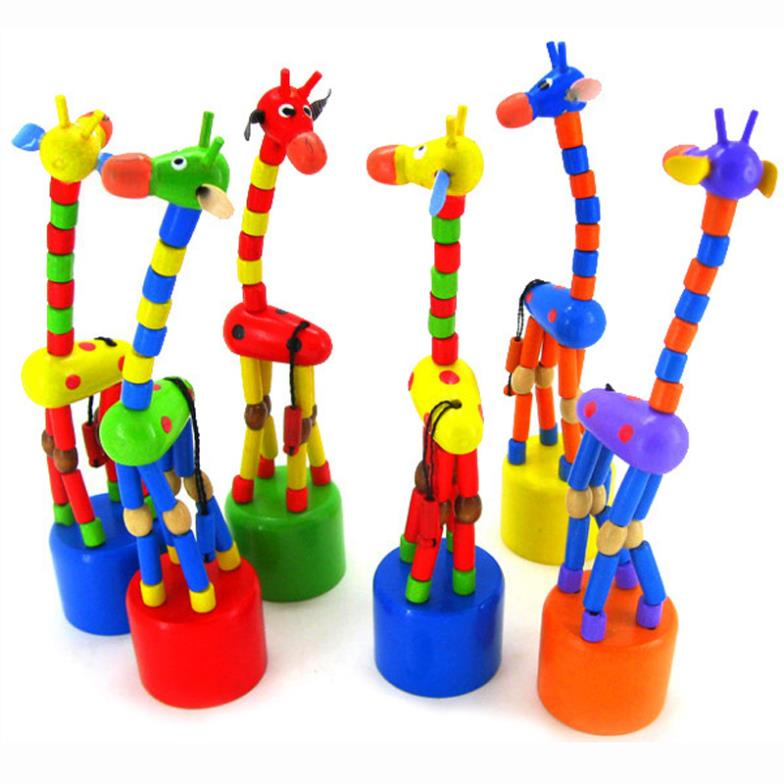 Free Shipping 1pc Baby Kid Wooden Toys Developmental Dancing Standing Rocking Giraffe Gift Toy(China (Mainland))