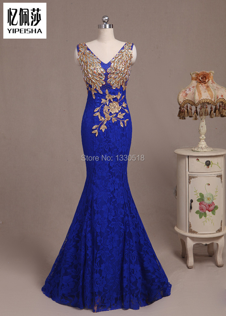 New Arrival Real Photo Royal Blue Lace Evening Dresses 2015 Elegant Embroidery Sexy V Neck vestido de festa Mermaid Prom Dresses(China (Mainland))