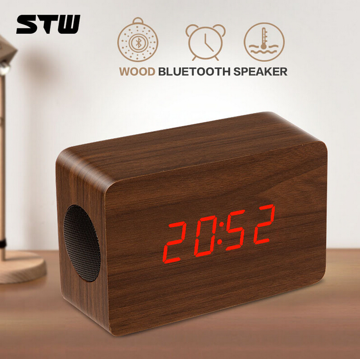 Hand-made desktop Mini Portable Wood Sound box Card Speaker Radio / alarm clock/ Calendar Function Made Back Nature