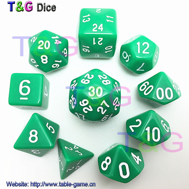 2016 New 10pcs Digital Dice Set 8 Colors d4,d6,d8,3xd10,d12,,d20,d24,d30 Plastic Cubes for Rpg Game Dice(China (Mainland))