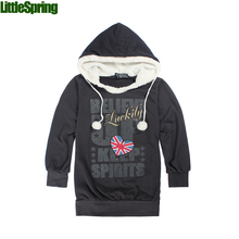 Retail 2015 new girls long sleeve hoodies children's fashion cotton blends letters patterned coat(China (Mainland))
