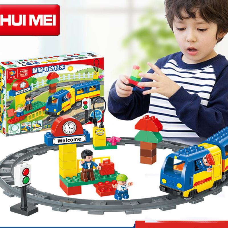 Kids Toys Building Blocks Assembled toy Minifigures large particles blocks bricks Electric Thomas train block 51 pcs
