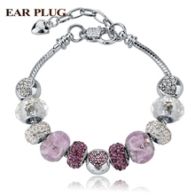 Promotion 2016 New Pink Crystal Heart Bracelet For Women DIY Silver Snake Chain Turkish Jewelry Pulseras SBR140691(China (Mainland))