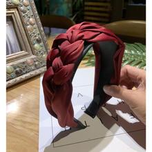 جديلة Hairband النساء نسيج القطن معقود عقال خمر تويست عمامة إكسسوارات الشعر رباط شعر واسعة أغطية الرأس(China)