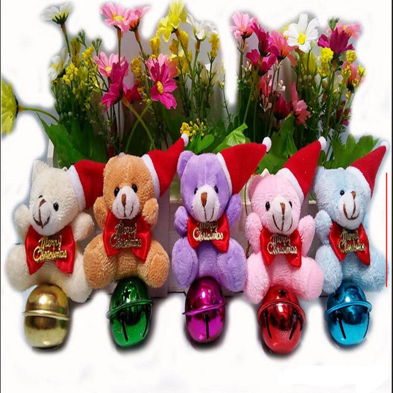 20pcs/lot free shipping Plush Bear bells Christmas decoration gifts Christmas supplies Christmas tree ornaments wholesale(China (Mainland))