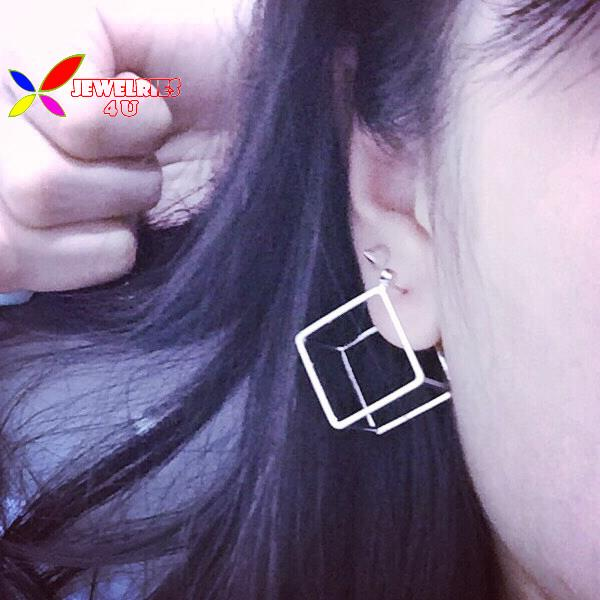 2015 christmas gifts fashion gold silver plated copper square triangle cubic piercing ear stud earrings for women bijoux brincos(China (Mainland))