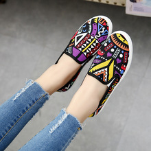 New Spring Summer Women 2016 Canvas Art Breathable Graffiti Shoes Womens Flat Driving Loafers Casual Flats Round Toe Big Size 40