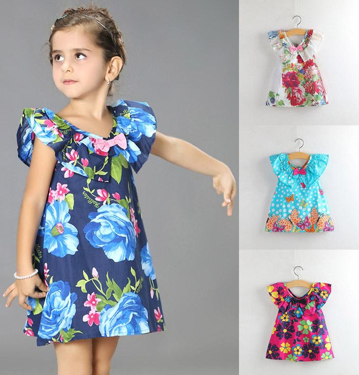 Wholesale spring 2015 5pcs/lot kids children classic festival best gift summer clothes roupas infantil girls princess dress 2201(China (Mainland))