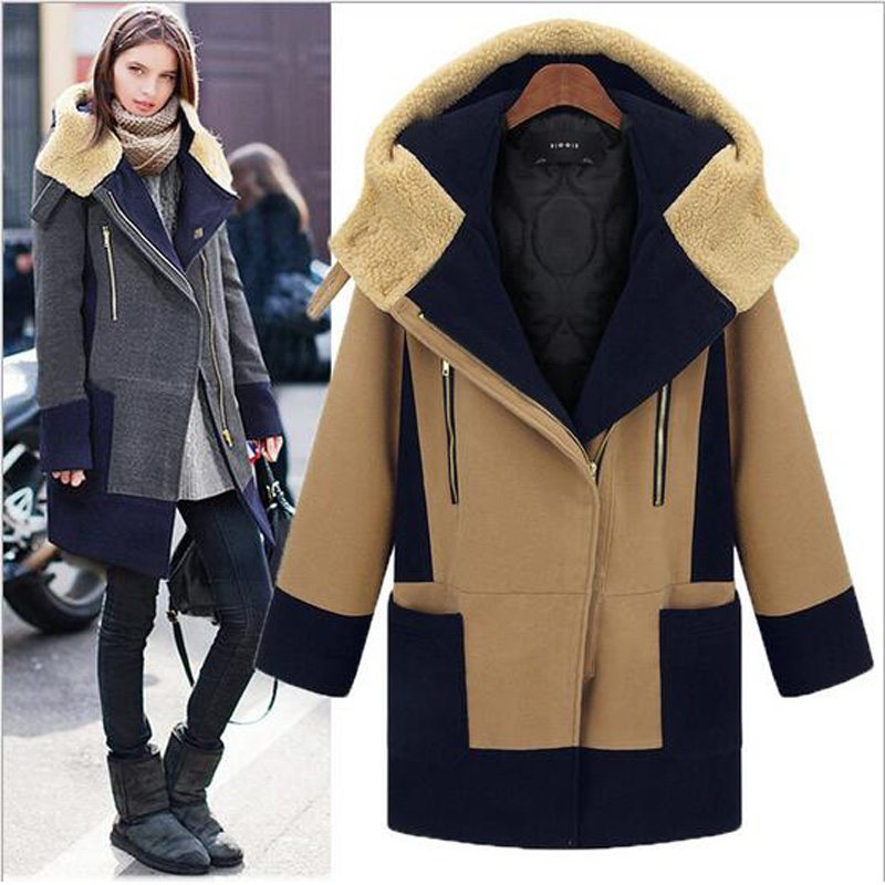 2016 hot sale women new Zipper large size cashmere wool blends M-5XL with zipper and pockets decoration winter spring warm coats