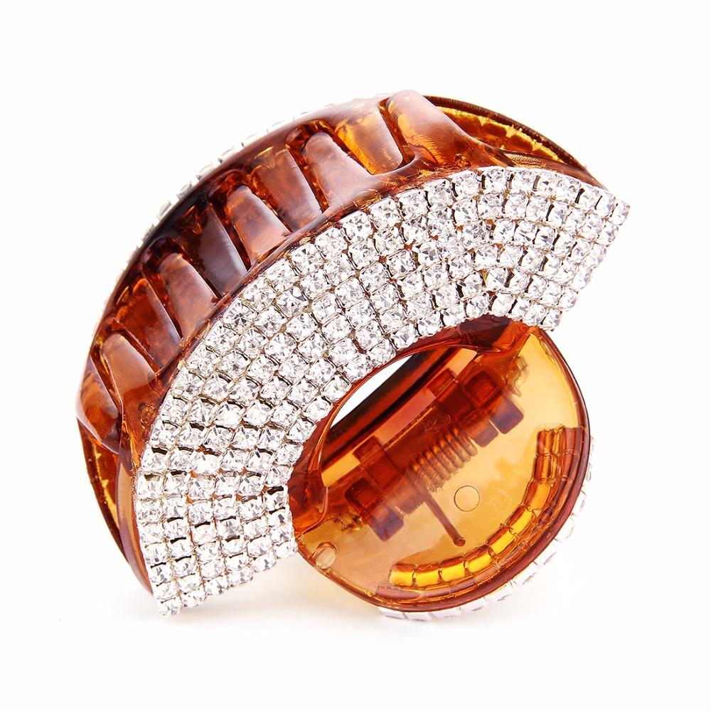 Elegant Sector Hair Claws Acrylic Crystals Fan Rhinestone Hair Grip for Women Hairwear Black Coffee Hair Jewelry Accessory HJ801(China (Mainland))