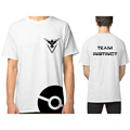 2016 Summer Brand Clothing Pokemon GO Team Valor Instinct Mystic Design T Shirt White Tee Fitness