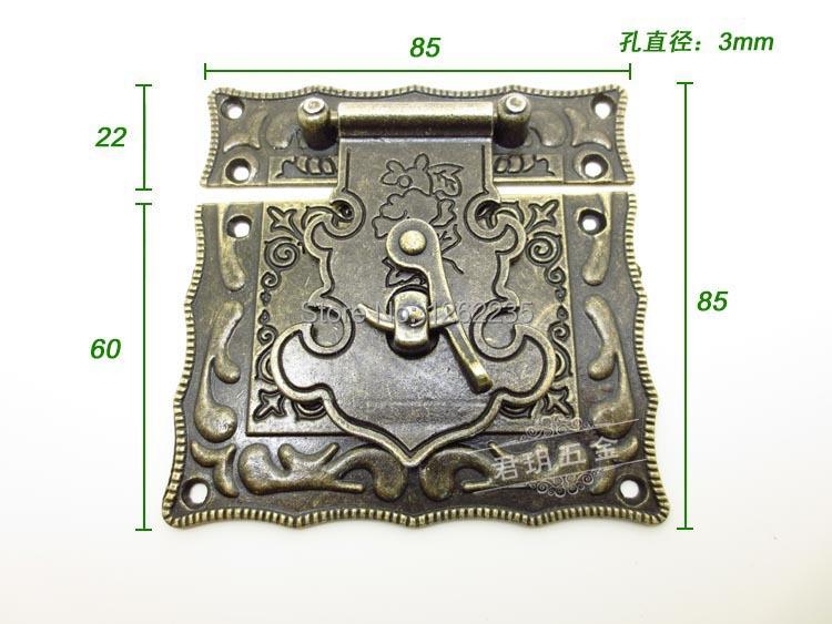 85 * 85mm Jewelry box accessories lock Alloy buckle classical box Retro gift box hasp Wine buckle Wholesale(China (Mainland))