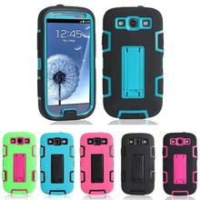 For Samsung Galaxy S3 Neo Case Silicone Colorate Cover Stand Phone Cases For Samsung galaxy S3 Case Shockproof 3 in 1 Back Cover(China (Mainland))