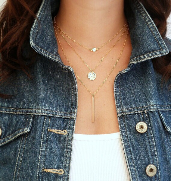Fashion Geometry Charms Crystal 3 Layers Gold Sliver Color Pick Chain Necklace Women Jewelry Free Shipping(China (Mainland))