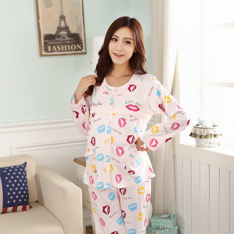 Autumn month of service postpartum Spring and Autumn cotton long-sleeved pajamas Buru Yi pregnant lip service Spring month of th(China (Mainland))