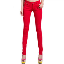 New 2016 Fashion Women Candy Colors Mid Waist Pencil Pants Spring Autumn Sexy Fit Jeans Plus