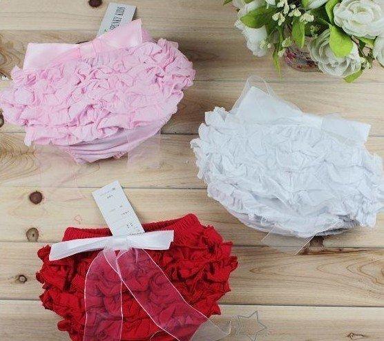 Newborn Baby Kids Girls Satin Ruffle PP Shorts Pants/Baby girl ruffle laced skirt bowknot/Three color: red ,pink & white - BABY&KIDS STORE store
