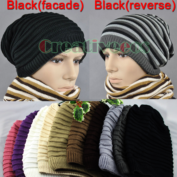 New Casual Classical Cool Unisex's Strip Winter Magic Hat Ski Cap Slouchy Beanie Knit Hat/Warmer Scarf(China (Mainland))