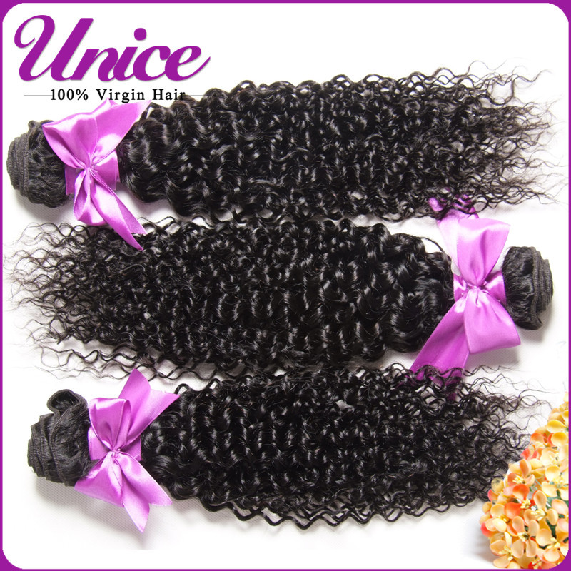 Unice Indian Curly Virgin Hair Weaving Best Quality 6A Indian Virgin Hair Extension Unprocessed Indian Hair Weft Free DHL UN265(China (Mainland))