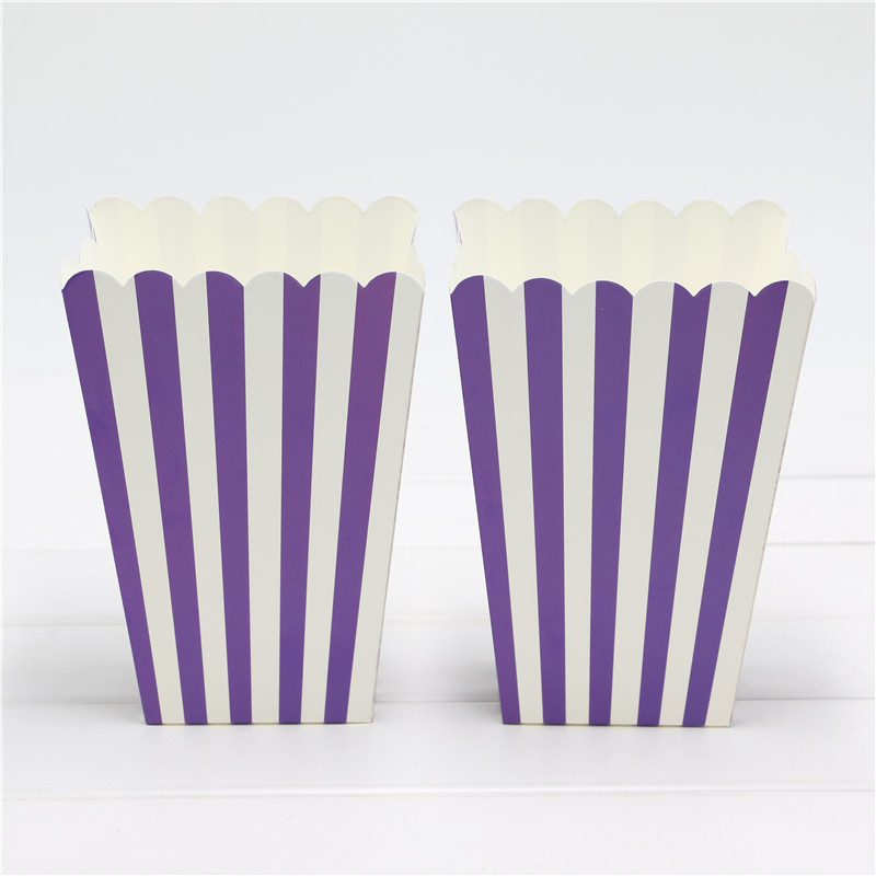 Purple 1bag 12pcs Party Supplies Stripe Popcorn Box Gift Box Favor Accessory Birthday Party Supplies Kids Event&Party Supplies(China (Mainland))