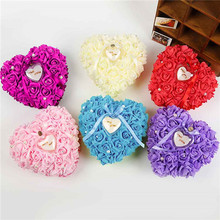 Wedding Favors Ring Pillow With Transprent Ring Box Heart Design Special Unique Ring Pillow Decorations Favor 6 Colors(China (Mainland))