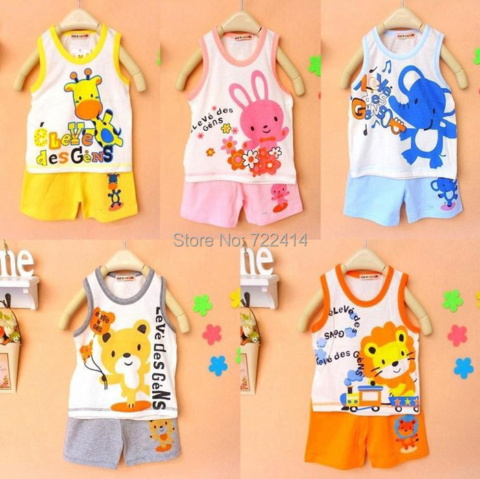 Retail Baby clothing set, t-shirts girls boys t shirt+pants undershirt Shorts,kids pajama set,Children t shirts 2014 new summer(China (Mainland))