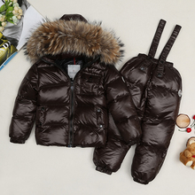 The new style of winter children's clothing / baby down snowsuit set / baby girl raccoon fur parka / winter jackets boys
