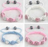 Christmas Gift New Arrival Pink Crystal Beads Baby Kids Bracelets & Bangles Shamballa Jewelry Charm Fashion Bracelets
