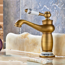 copper faucet hot and cold bath mixer continental gold antique water heater vanities bathroom faucet hole washbasin faucet retro(China (Mainland))