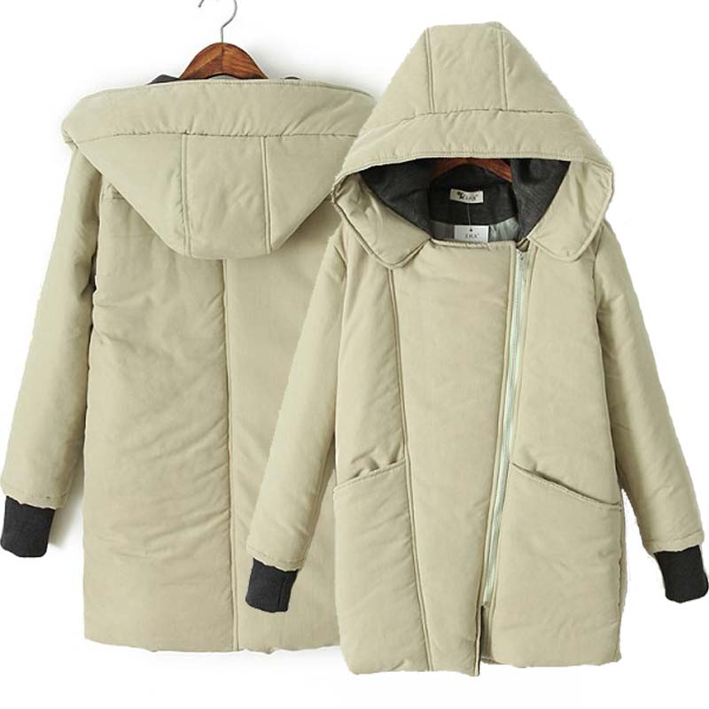 Фотография New 2014 Spring Fashion Long Loose Lapel Zipper Coat Student Bread Padded Cotton Hooded Stitching Jacket Free Shipping H2030