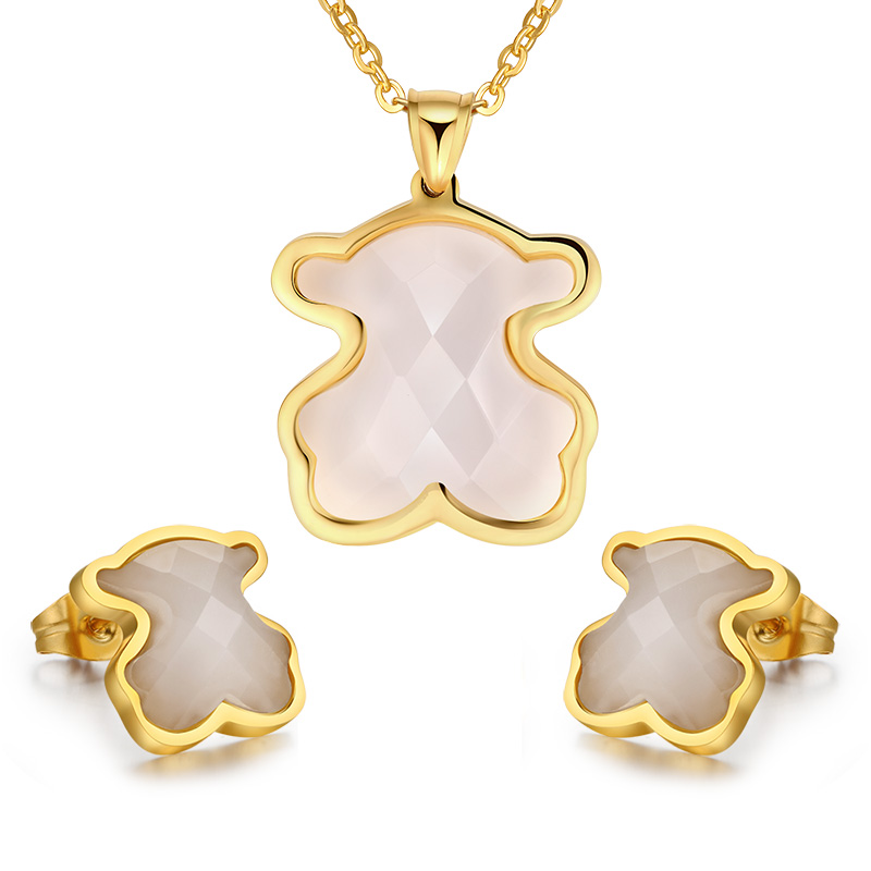 Fashion jewelry sets stainless steel african cute bear teddy jewelry set wholesale(China (Mainland))