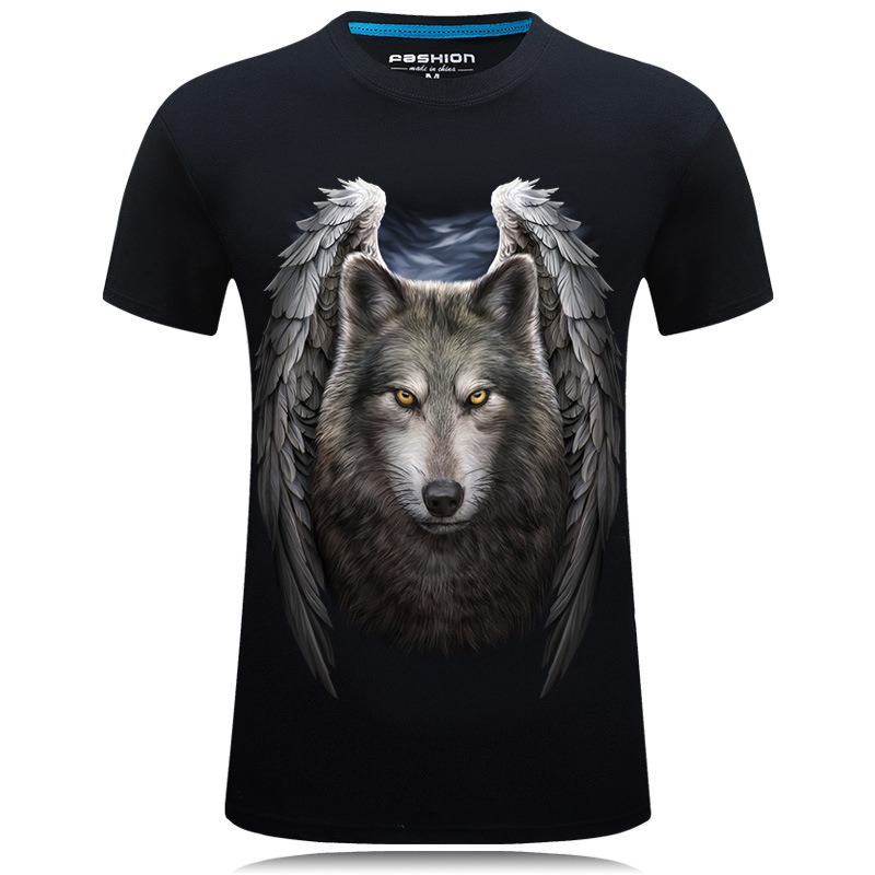 Cotton 3D T-shirt Men 2016 Summer New Arrival 3D Funny Wolf Man's Tee Tops Extended Plus Size S-6XL t shirt homme(China (Mainland))