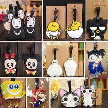 1 Piece High Quality SILICONE Children Adult cartoon Facelss man Cheese Cat Luggage tag suitcase travel card licence belt tags(China (Mainland))